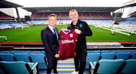 Dean Smith was unveiled as Aston Villa manager on Monday. Twitter/AVFCOfficial