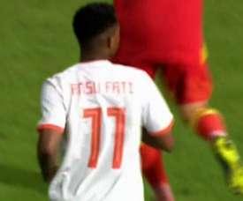 Ansu Fati impressed in his 15 minute debut for Spain U21. Captura/Cuatro