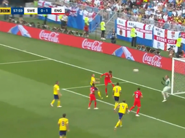 Dele Alli scores a header in England's World Cup quarter-final game v Sweden. BBC