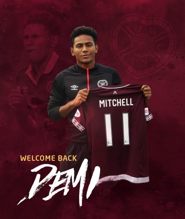 Mitchell volverá a jugar en el Hearts escocés. Twitter/JamTarts