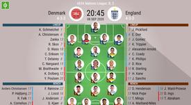 Denmark v England, UEFA Nations League 2020/21, 8/9/2020, matchday 2 - Official line-ups. BESOCCER