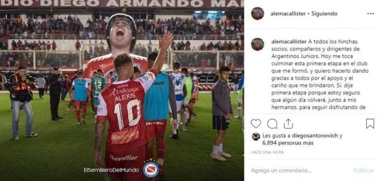 Mac Allister se despidió de Argentinos y ya piensa en Boca. Instagram/alemacallister