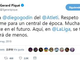 Pique  paid tribute to Godin on Twitter. Twitter/3GerardPique