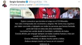 Sergio González podría acabar en el Leganés. Twitter/Sergio4Glez