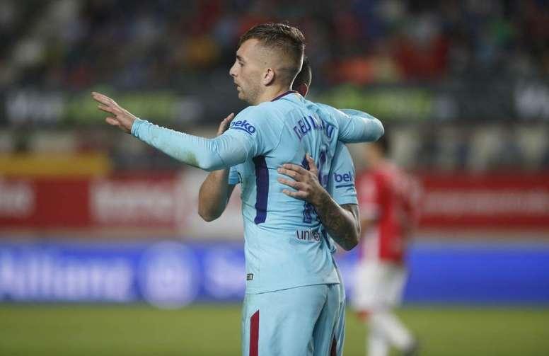 O Barça vence Murcia mesmo sem Messi e Suárez no onze. AFP