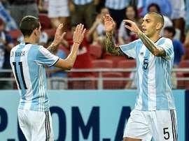 Di Maria célèbre le sixième but de l'Argentine. AFP
