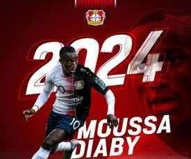 Diaby est le nouveau joueur du Bayer Leverkusen. Twitter/bayer04fussball