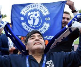 Maradona fue anunciado como presidente del Dinamo de Brest y tres meses más tarde dejó el club. AFP