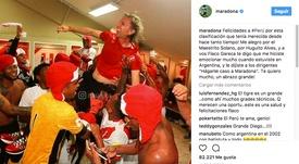 Maradona se alegró por la clasificación de Perú. Instagram/Maradona