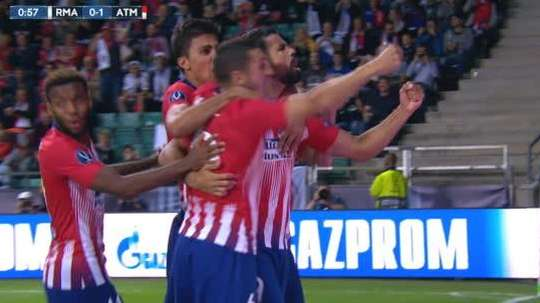 Costa celebrates the opening goal. Captura/ESPN