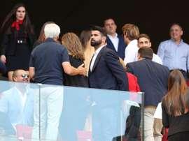 Diego Costa, nas bancadas do novo estádio do 'Atleti'. Twitter