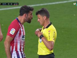 Diego Costa foi expulso antes da meia hora. Captura/Movistar