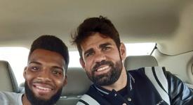 Diego Costa et Lemar, à Yeda.  Twitter/Atleti