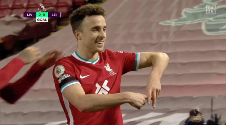 Diego Jota, Liverpool's star man celebrates. Screenshot/DAZN