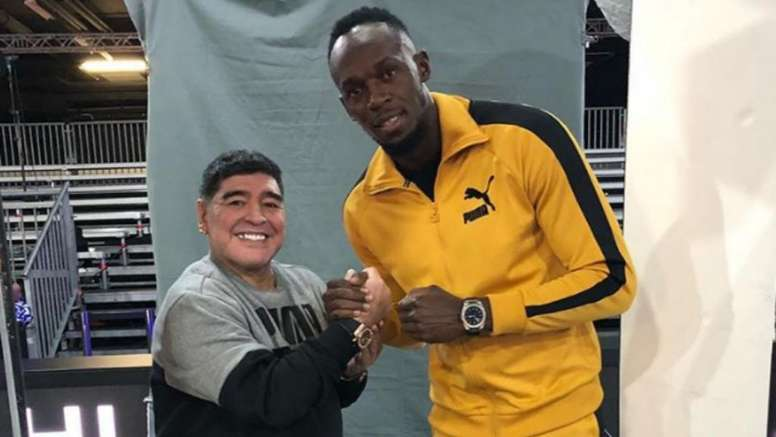 Maradona queria Bolt no seu time. Instagram/UsainBolt