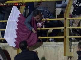 O que Simeone falou com torcedor rival. Captura/Cuatro
