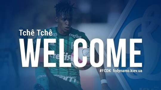 Dínamo de Kiev anuncia Tchê Tchê ex-Palmeiras. Twitter/FC Dynamo Kyiv