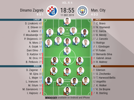 Dinamo Zagreb v Man City. UCL 2019/20. Matchday 6, 11/12/2019-official line.ups. BESOCCER