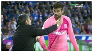 Tensions entre Piqué et Valverde contre Alaves. Captura/DirectTV