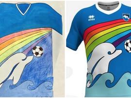 Uma criança desenhou o próximo uniforme do Pescara. PescaraCalcio
