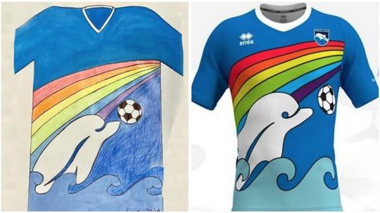 Pescara portera le maillot dessiné par un enfant. PescaraCalcio