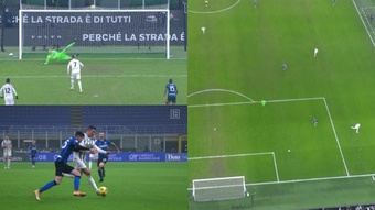 Cristiano Ronaldo scored twice in just nine minutes. Screenshot/DAZN