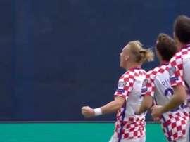 Domagoj Vida celebra su tanto con Croacia ante Kosovo. Twitter