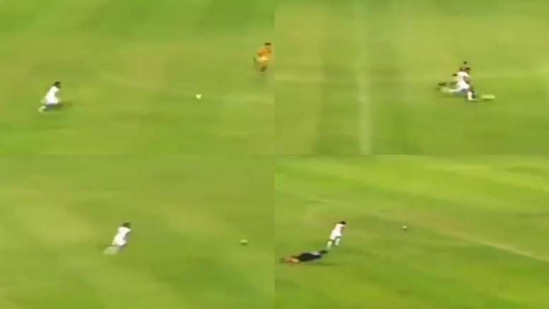 El gol que le pudo encumbrar como el futbolista más rápido del mundo. Captura