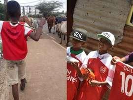 Özil teve um gesto inesquecível com duas crianças de Nairobi. Twitter/ErikNjiru