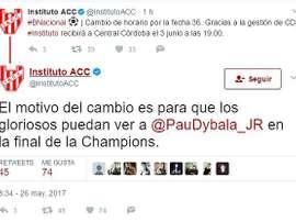 Le premier club de Dybala veut voir son joueur en finale de LdC. InstitutoACC