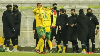 Douglas Tanque dedicó el gol que marcó a Moreirense a Vitor Oliveira. Twitter/fcpf
