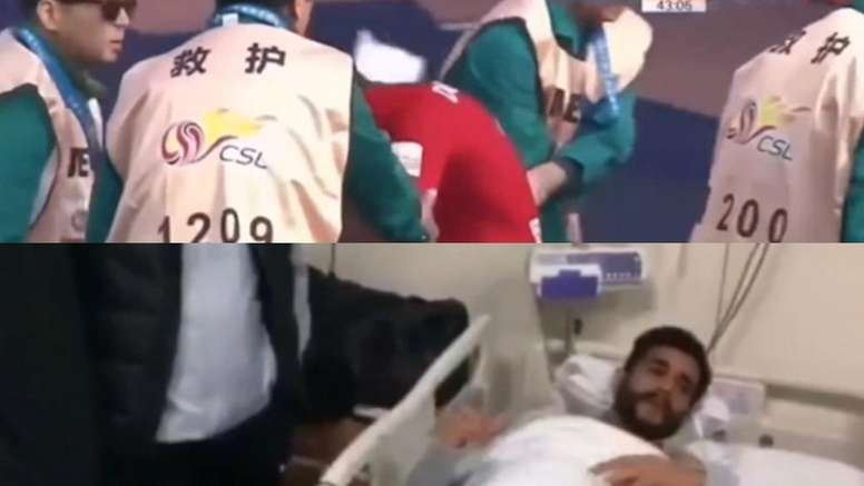 Dourado marcó y se lesionó el día de su debut en China. Captura/PPTV