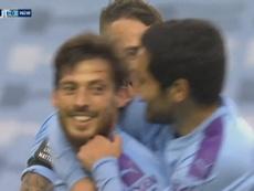 David Silva scored a superb free-kick as Man C beat Newcastle 5-0. DUGOUT
