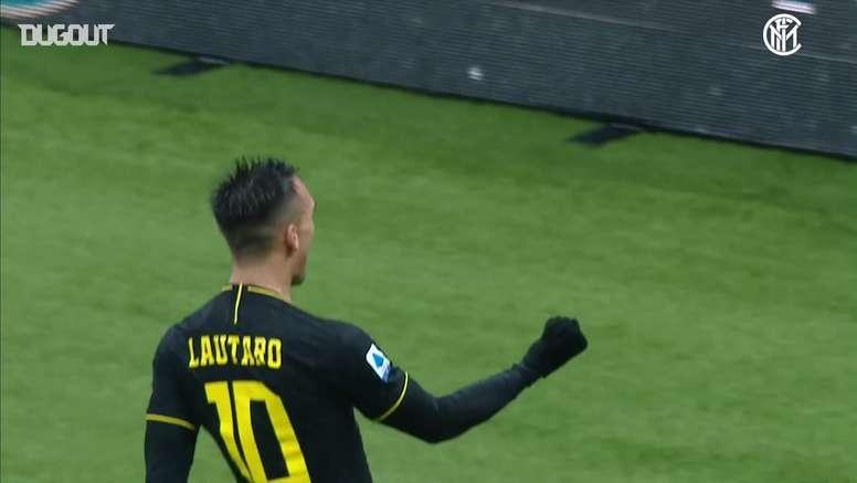 Lautaro Martinez scored twice in Inter's 2-1 win over SPAL. DUGOUT