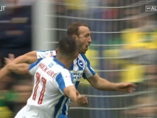 Glenn Murray scored three in Brighton's 5-0 win over Norwich. DUGOUT