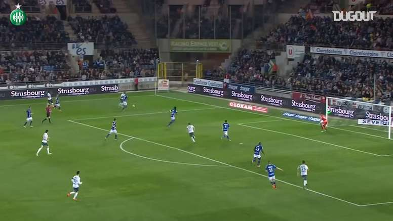 Résumé Strasbourg 0-1 Saint-Etienne. dugout