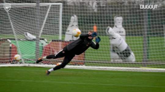 Nelson's cheeky nutmeg as Arsenal prepare for Rapid Vienna. DUGOUT