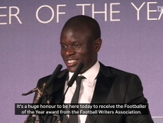 VIDEO: N'Golo Kante's speech after being crowned FWA Player of the Year. DUGOUT