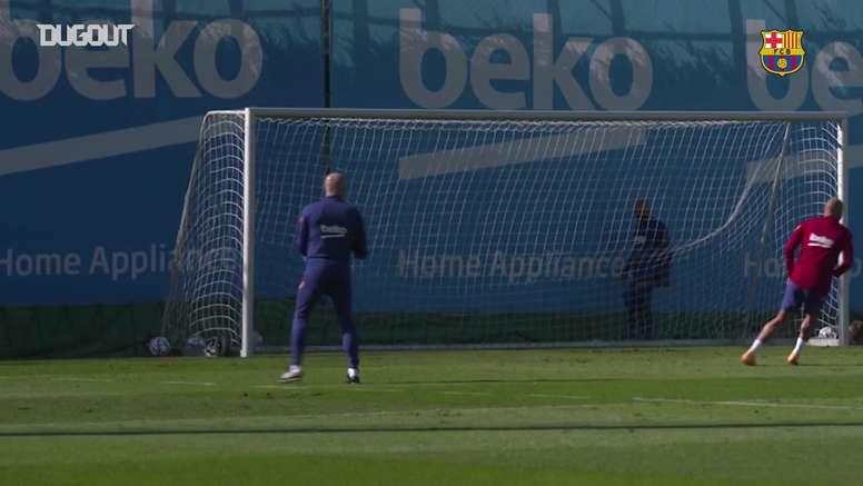 L'allenamento del Barça prima della Juve. Dugout