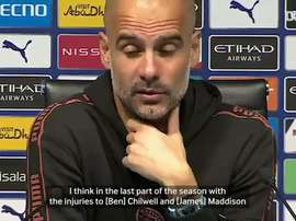 Pep talks about his options for the match. DUGOUT