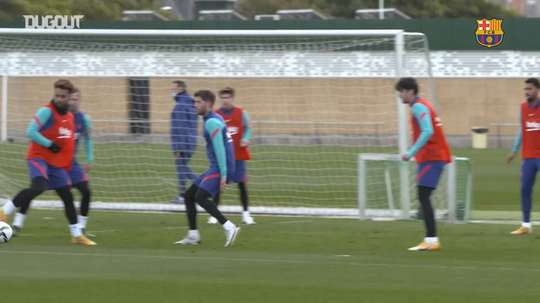 Barcelona's recovery session ahead of the game against Rayo Vallecano. DUGOUT