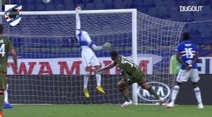 Audero made a brilliant stop to prevent Cagliari scoring. DUGOUT