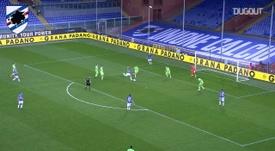 Il primo gol di Damsgaard con la Samp. Dugout