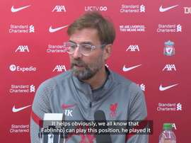 Klopp discusses Liverpool's defence and Fabinho's ability to play centre-back. DUGOUT