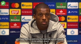 Wijnaldum has criticised Jordan Pickford for injuring van Dijk. DUGOUT
