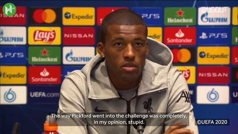 Wijnaldum has criticised Jordan Pickford for injuring van Dijk. DUGOUT