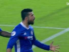 La rete di Diego Costa contro il Southampton. Dugout