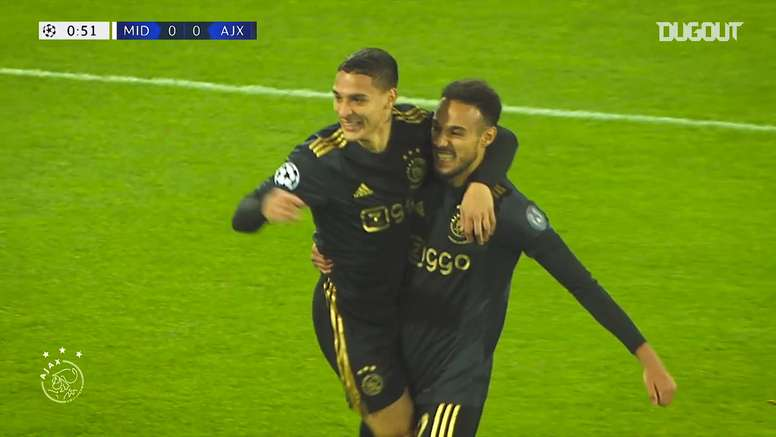 Los goles del Ajax en el inicio de la Champions League 2020-21. Captura/DUGOUT