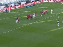 Cristiano Ronaldo fez seu primeiro gol de falta pela Juventus após mais de 80 jogos. DUGOUT