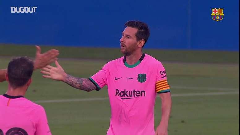 La doppietta di Messi contro il Barcellona. Dugout